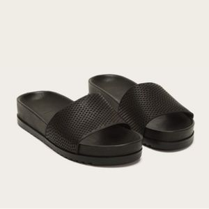 NEW Frye Lily Perforated Black Leather Slides